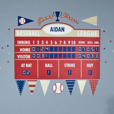 Baseball Athlete Scoreboard Peel Place Wall Stickers