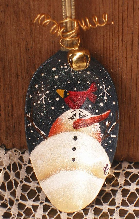 Hand Painted Snowman and Cardinal Spoon Ornie.