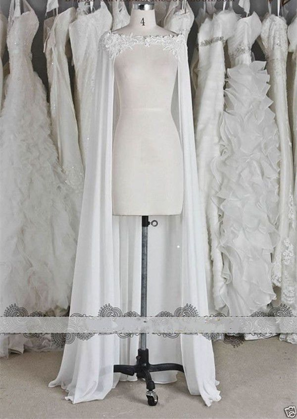 Chiffon Wraps Wedding Jacket Bridal Cloak Lace Long Bridal Dress's Cape #Jacket