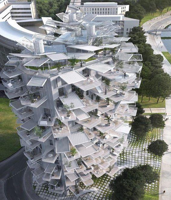 Montpellier - la future tour de Fujimoto, l'Arbre blanc sur les rives du Lez © PROMEO-EVOLIS / SOU FUJIMOTO / LAISNE-OXO - mairie Montp...