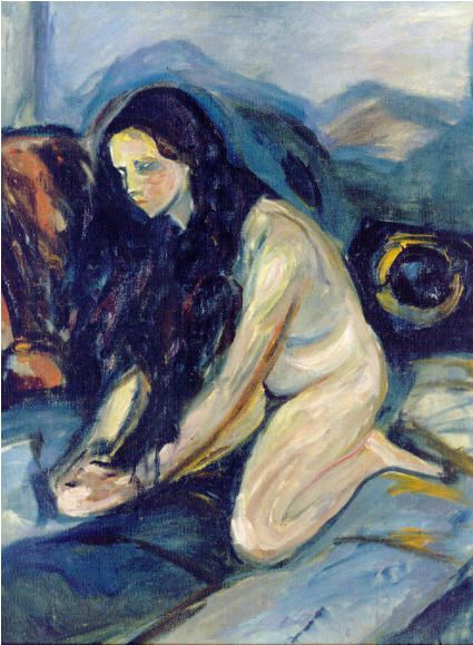 huariqueje:  Kneeling Nude - Edvard Munch 1922 Norwegian 1863-1944
