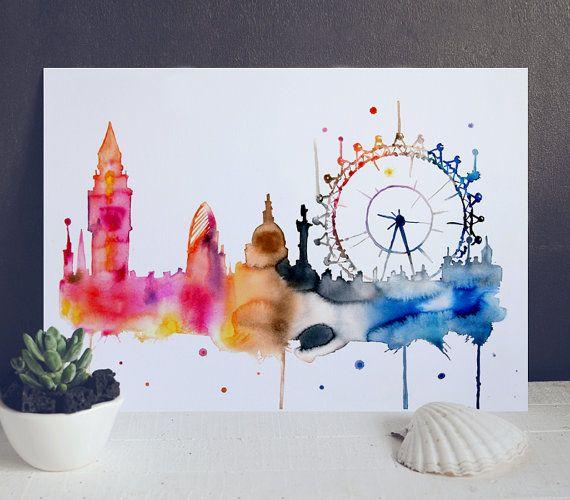London City Wasserfarbe Drucken – London Aquarell Poster – Aquarell Stadt Illustration – großes Auge London – großes Auge Kunstdruck