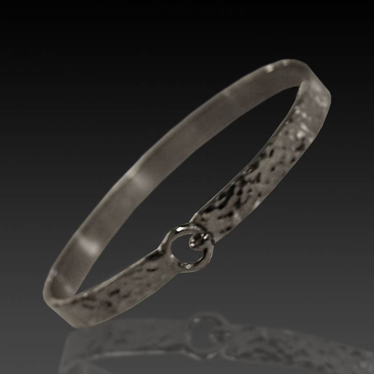 sterling silver hammer textured lasso clasp bangle