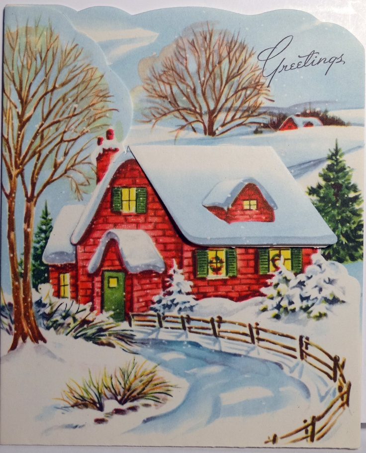 Holiday scene i used to love to draw scenes like this Christmas card scenes to paint