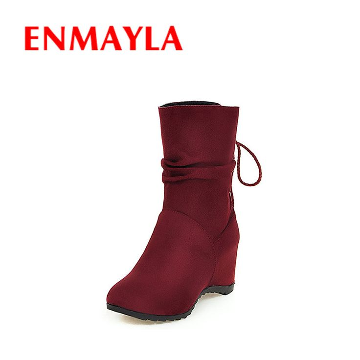 Find More Women's Boots Information about ENMAYLA New Autumn Half Boots Women Nubuck Height Increasing Lace up Shoes Woman Black Red Yellow Colors Wedges Winter Boots,High Quality winter power,China winter home boots Suppliers, Cheap winter boot liners from YQZ on Aliexpress.com