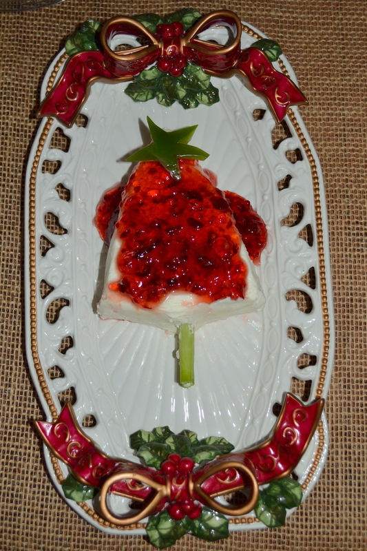 My Christmas tree of Cream Cheese with Pepper Jelly