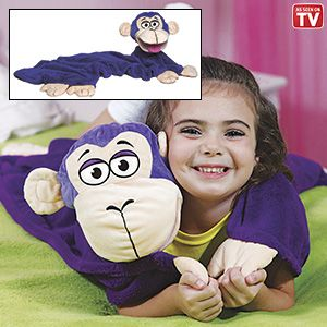 "Product # NR14309 - It's a blanket that cuddles and a puppet that plays! Adorable polyester plush character is the perfect companion during the day, night, on trips or car rides. Super soft fabric is machine washable. 34""L x 29""W.  $19.98"