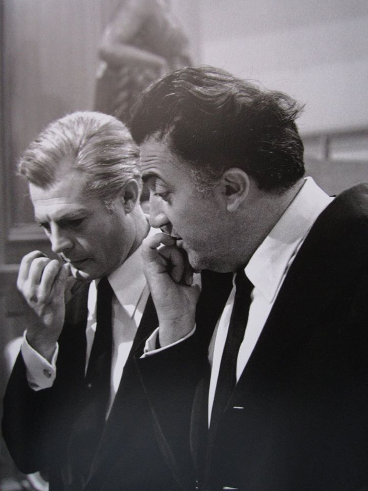 Marcello Mastroianni and Federico Fellini on the set of La Città Delle Donne, photographed by Tazio Secchiaroli, 1980