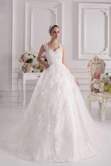 Ball Gown Sweetheart Satin Lace Court Train Wedding Dress