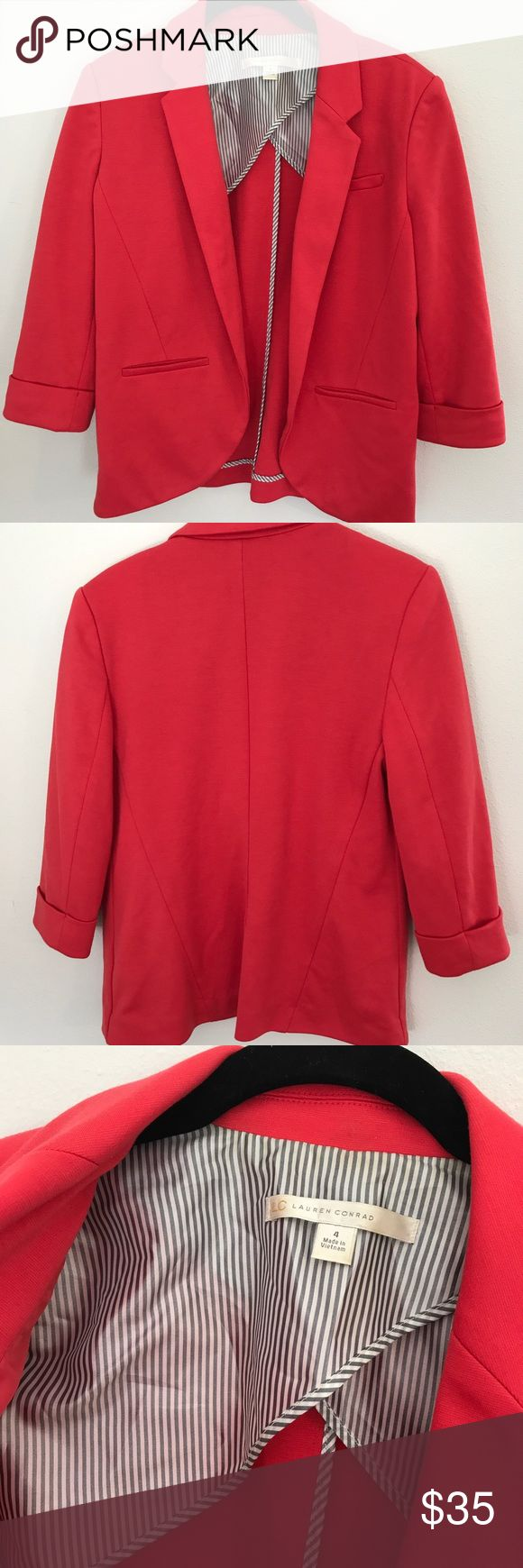❤️ Red LC Lauren Conrad blazer ❤️ Worn once, great shape! It's a tomato red soft structure blazer, meaning it's not stiff. It's lined with a nylon on the sides and cute stitching on the inner seams. Perfect for work or with jeans. LC Lauren Conrad Jackets & Coats Blazers