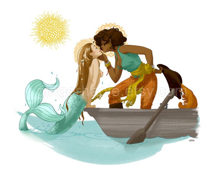 "The mermaid and pirate queen 8""x10"" print by gingerhaole on Etsy https://www.etsy.com/listing/126282570/the-mermaid-and-pirate-queen-8x10-print"