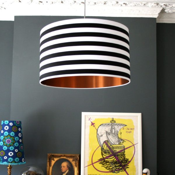 CIRCUS STRIPES MONOCHROME LAMPSHADE WITH BRUSHED COPPER LINING  Roll Up, Roll Up! This Monochrome circus striped shade is the newest kid on the block. Teamed with our gorgeous brushed copper lining, this one is certainly no clown!