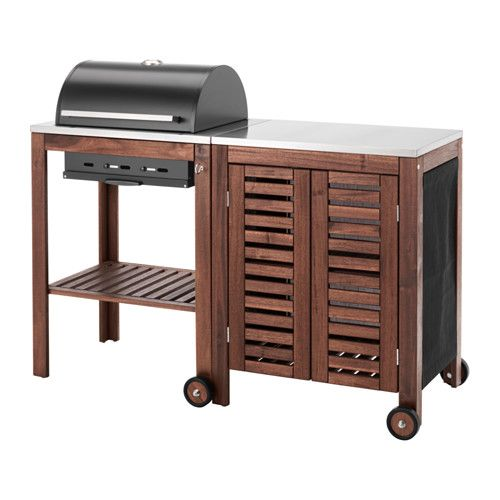 IKEA   ÄPPLARÖ / KLASEN, Charcoal Grill With Cabinet, Brown  Stained/stainless Steel Color , With ÄPPLARÖ/KLASEN Charcoal Grill And  ÄPPLARÖ/KLASEN Storage ...