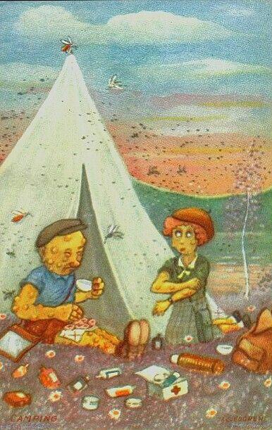 Humorkort Jac. Edgren - Camping Utg Mittet