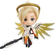 """From Good Smile. """"Heroes never die."""" From the globally popular multiplayer first-person shooter Overwatch comes the third Nendoroid figure from the series  -  Mercy! She comes complete with two different face plates including a gentle smiling face as well as a tougher looking expression for combat scenes. The Nendoroid is fully articulated including movable wings, which allow for various poses ranging from dynamic action poses to more relaxed poses. The wings make use of translucent..."""