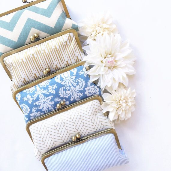 love these custom clutches | bridesmaid gifts, personalized clutches, choose your fabrics, custom clutch