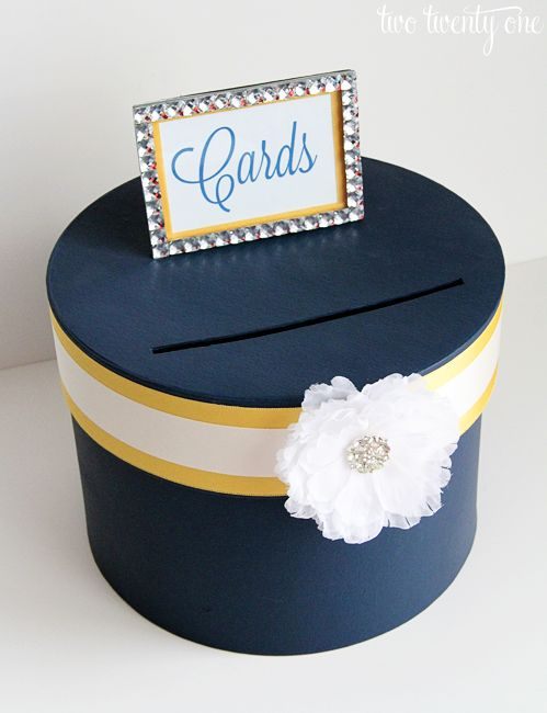 DIY wedding card box. You could find a box at Goodwill and use your Pinterest ideas to decorate it! I like this idea.