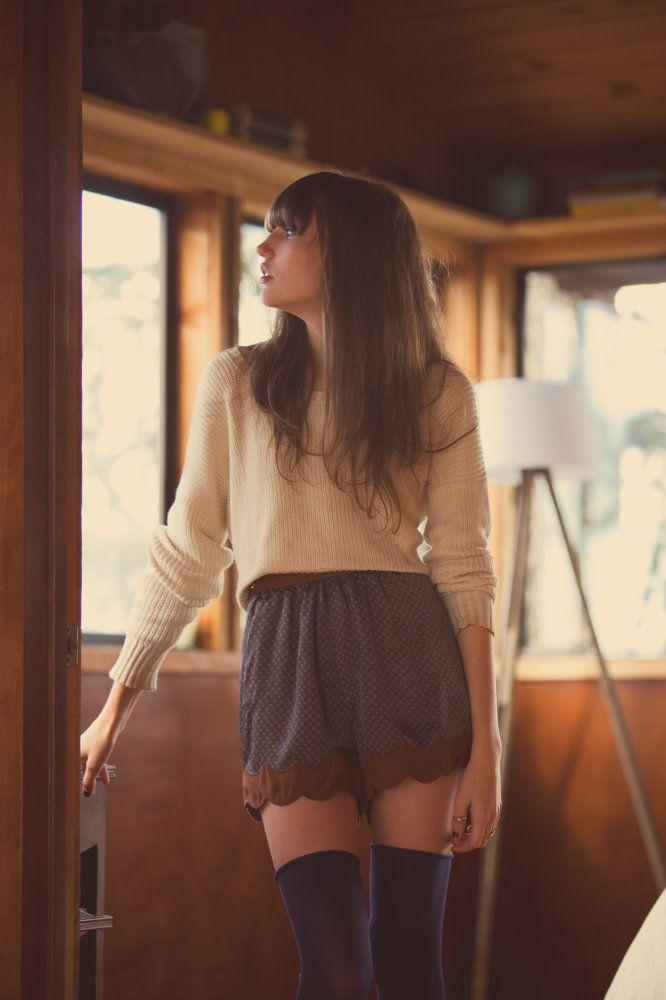 jumper, shorts + long socks