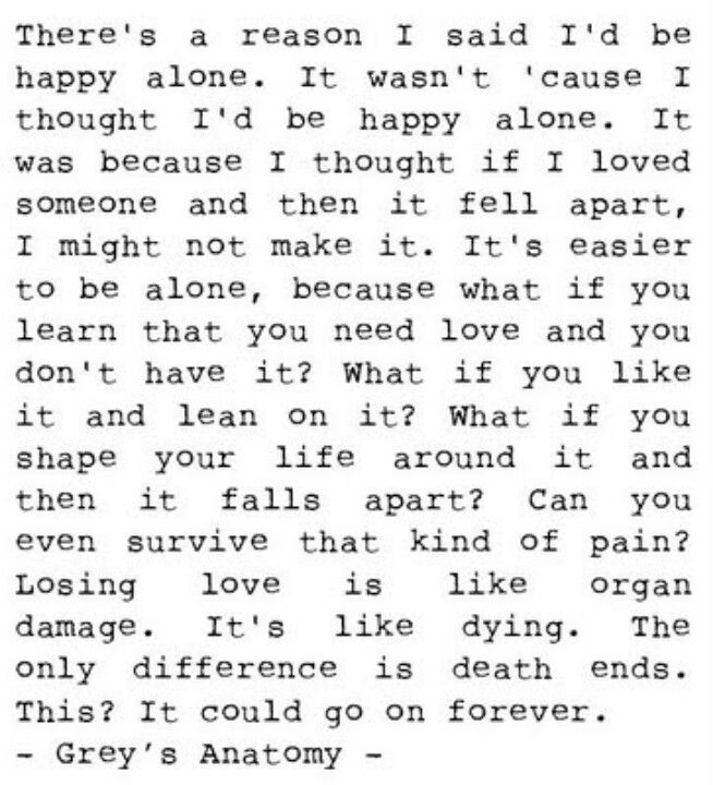 about being alone... and love