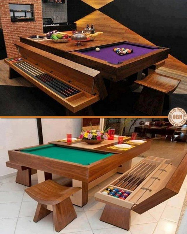 many people wish they owned a pool table but just dont have the space this is a great example of how a bit of creativity allows you to have the best of