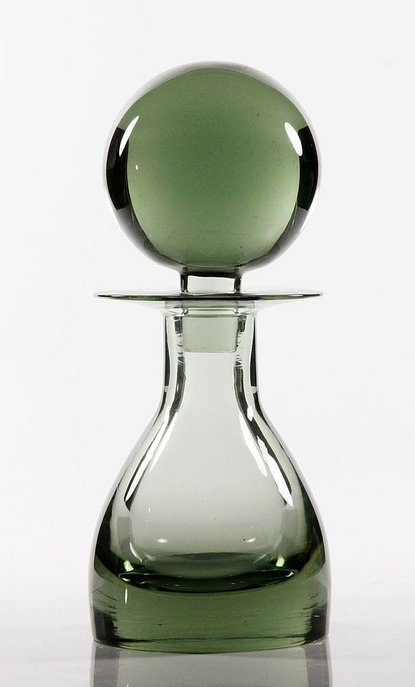 "SO FINE..., 20th C. Scandinavian Glass Decanter w/ lg. round stopper - 14""h"