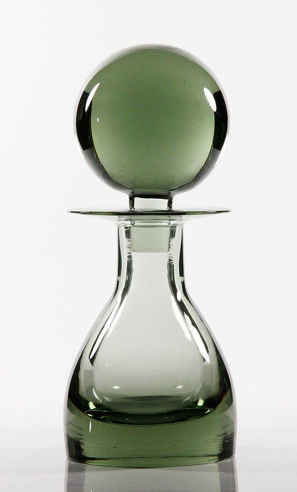 "SO FINE..., 20th C. Scandinavian Glass Decanter w/ lg. round stopper - 14""h"