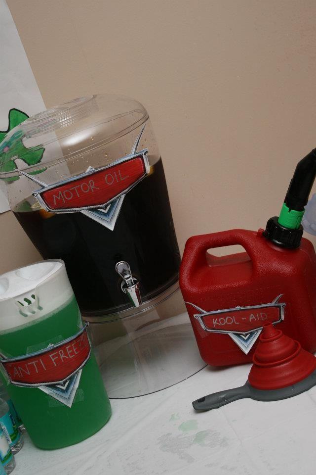 Cars themed birthday party. Anti-Freeze: lemonade dyed green Kool-aid Motor Oil: Sweet Tea