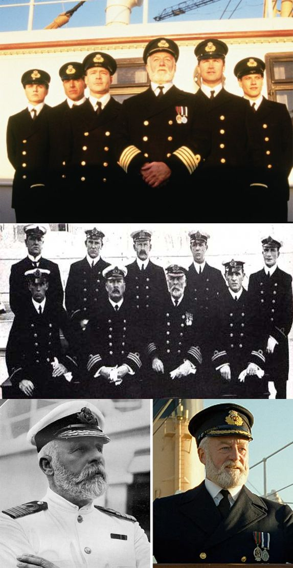 Top pic, from the movie...Second photo from the real Titanic, last pic the captain of the Titanic and Cap. Smith of the movie.