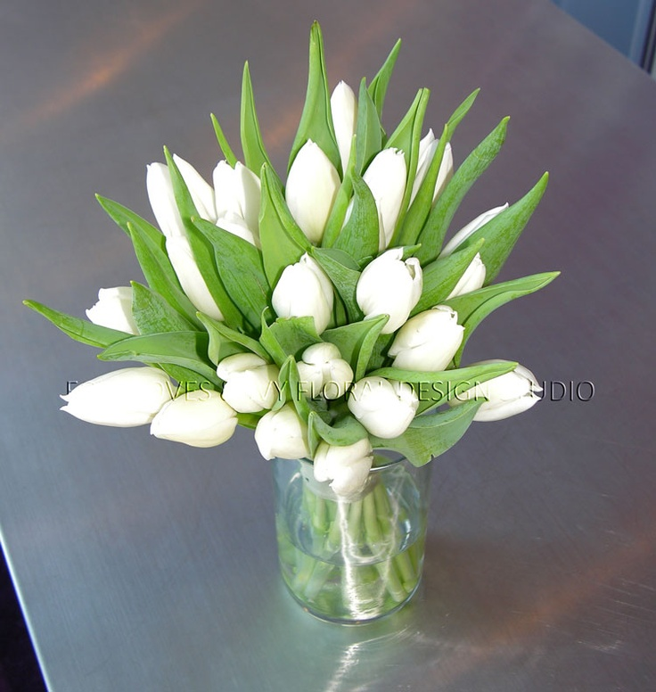 Bridesmaid bouquet - white Dutch tulips