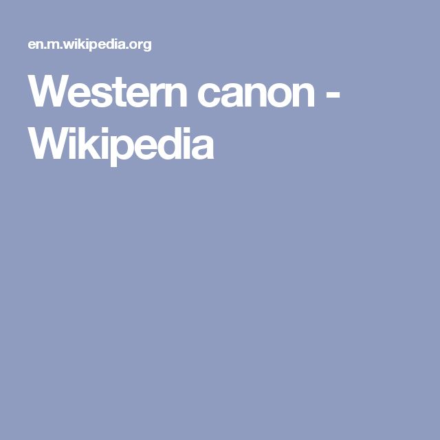 Western canon - Wikipedia