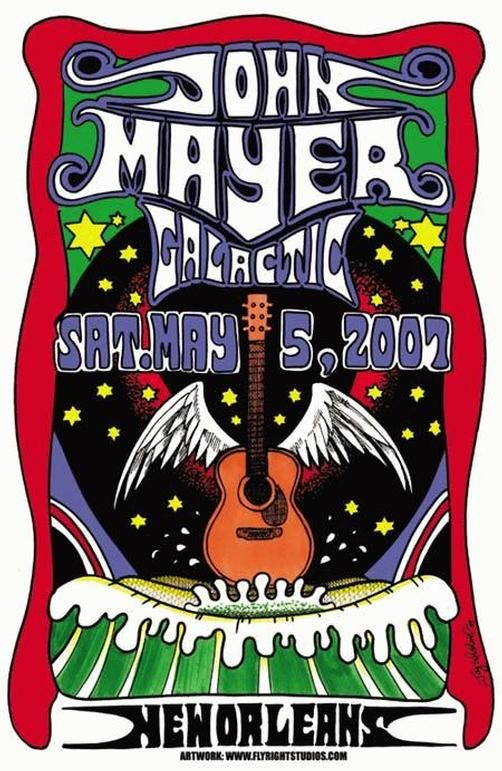 Original concert poster for John Mayer live at the New Orleans Jazz Festival in 2007. 12
