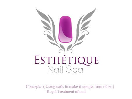 esthetique nail spa free beauty salon logo concept