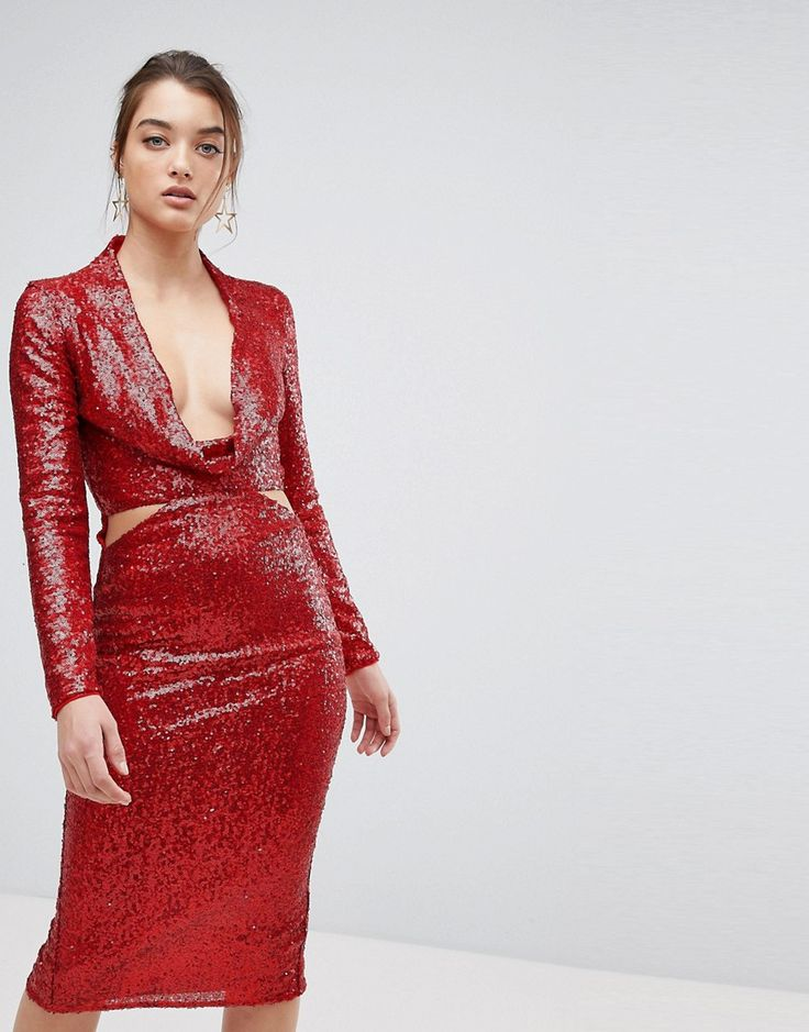 ASOS Cowl Front Cut Out Sequin Midi Dress - Red