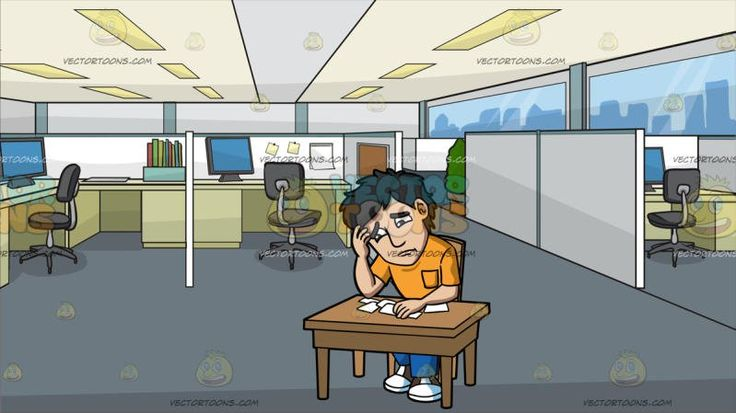 A Problematic Man In Lots Of Debt At Office Cubicles:  A man with black hair wearing an orange shirt with pocket blue jeans brown and white sneakers sits on a wooden chair behind a wooden desk as he frowns and rests his head on his right hand while looking at the papers of debt notices on the table. Set in an office with cubicles and white dividers gray swivel chairs paneled ceiling gray floor beige desks with gray monitors.