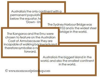 Fun facts about Australia that children will enjoy learning. A great addition to an Australia Continent Study.Includes 30 Fun Facts:- 1 set with a brown border- 1 set without a color border