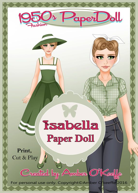 1950s Isabella Paper Doll Collection 3 by OkeeArts on Etsy