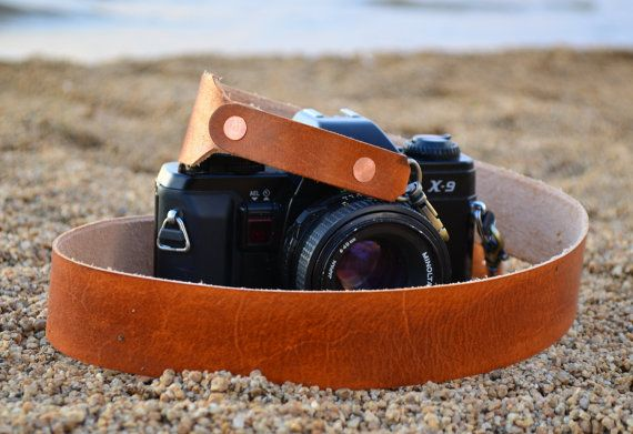 Leather Camera Strap - Handmade - Oiled Leather Camera Strap by TahoeMade - with Lobster Swivel Clasps for Quick Attachment TahoeMade builds Quality