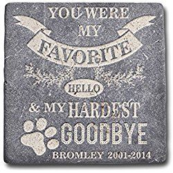 Personalized Memorial Dog Headstone Customized - Favorite Hello Hardest Goodbye Marble