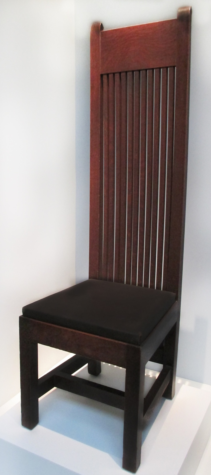 Black distressed dining table and six parlor chairs stamped 1928 - Frank Lloyd Wright Chair 1902 V London