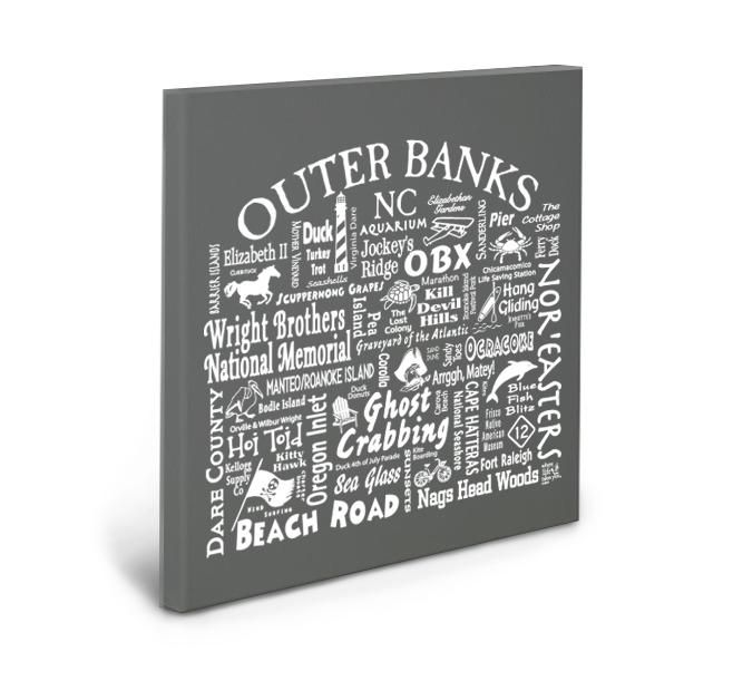 Outer Banks Location Gallery Wrapped Canvas (GREY)