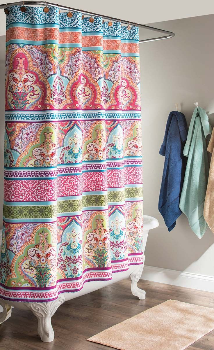 Better Homes And Gardens Jeweled Damask 70 X 72 Polyester Shower Curtain