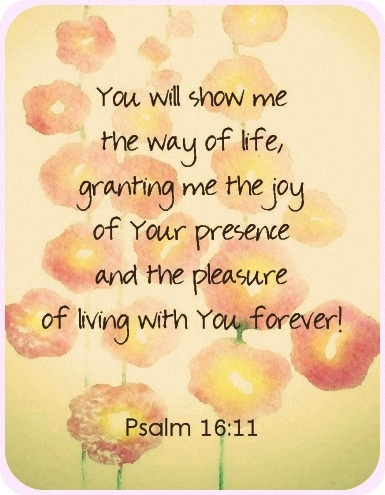 Psalm 16:11  Joy is not something the world can give us! Only God can do that :)