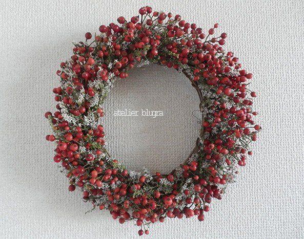 atelier blugra八ヶ岳〜里山の秋ノイバラの実Wreath01 - アトリエ ブルグラ