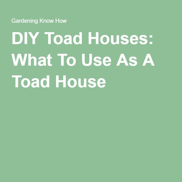 DIY Toad Houses: What To Use As A Toad House