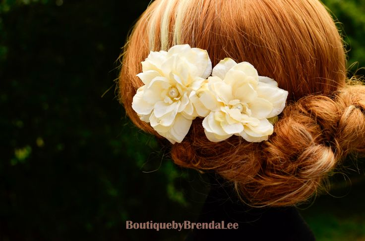 BRENDA LEE A set of 2 Rustic Cream Flower U pins floral hair accessory/wedding bridal bridesmaid bride flower girl hair clip 40929 by BoutiquebyBrendaLee on Etsy