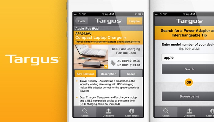 Binary partnered with Targus to create this functional iPhone app. #iPhoneApp #UI #UX