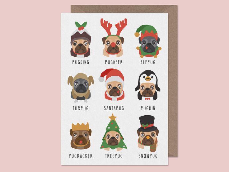 Christmas Pug Card. Pug Christmas Card. Turpug. Puguin. Pugding.Funny xmas card. christmas cards. Pug pun cards by StudioBoketto on Etsy https://www.etsy.com/ca/listing/270065530/christmas-pug-card-pug-christmas-card