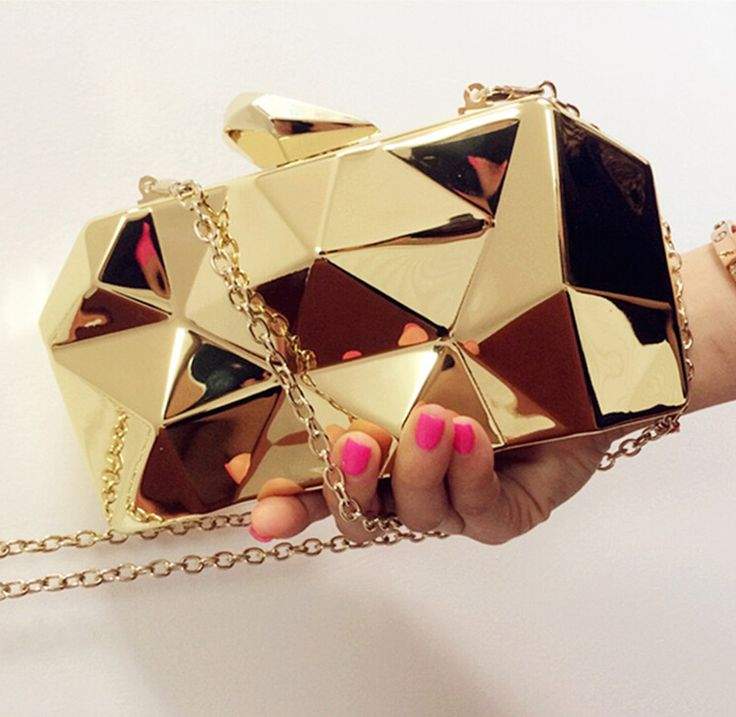 2014 New Fashion Geometric 3D Gold  Metal Chain Ladies Handbag Evening Bag Women's Day Clutches Mini Wedding Party Shoulder Bags-in Evening ...