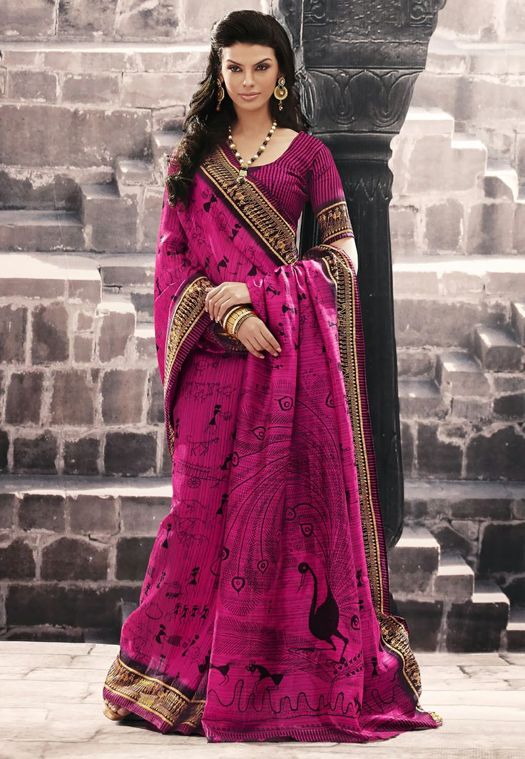 Fuchsia #Cotton #Saree @ $33.00