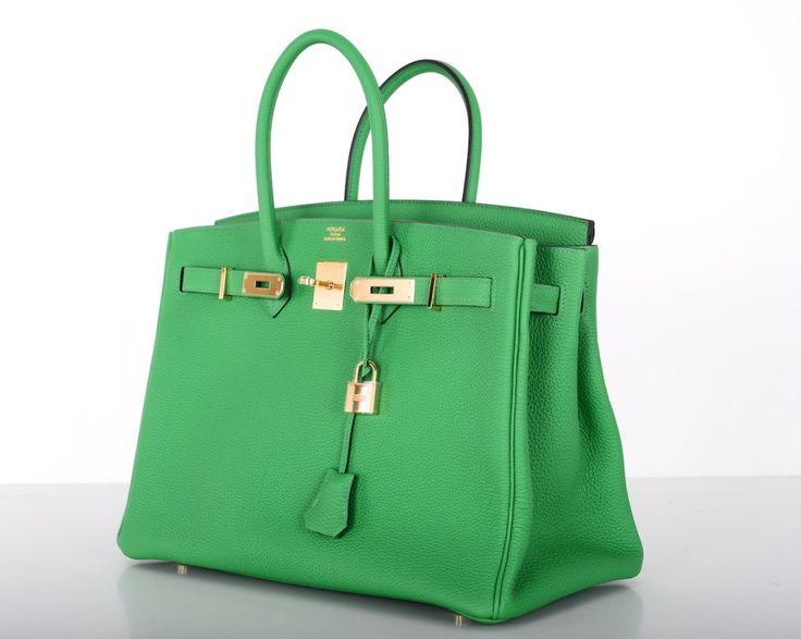 New Color Hermes Birkin Bag 35cm Bambou Green Gold Hardware